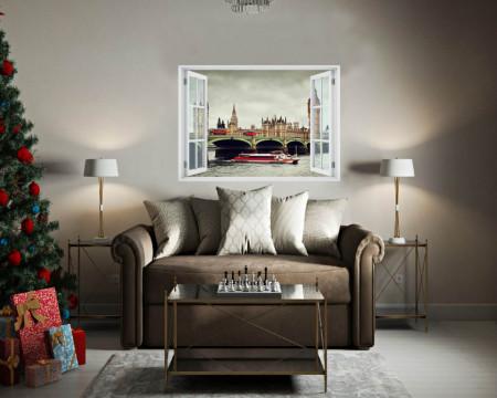 Stickere pentru pereți, Fereastra cu vedere spre un vapor din Londra