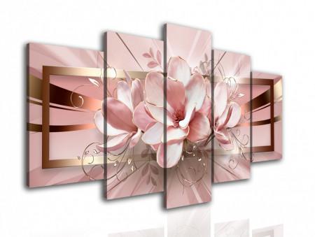 Tablou modular, Floarea roz abstractă