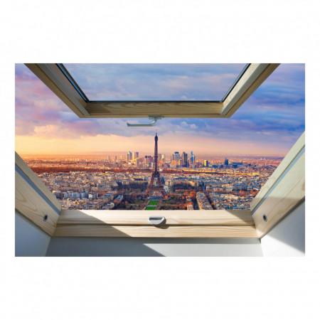 Fereastră falșă, Fereastra 3D cu vederea la cerul roz din Paris