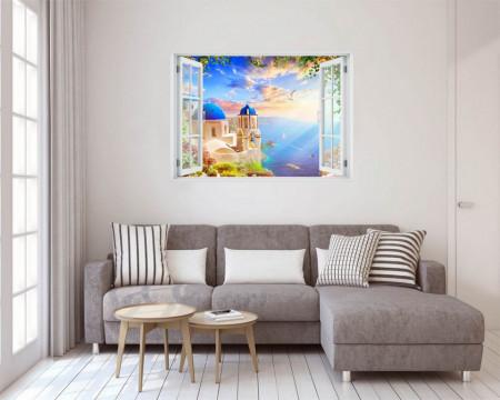 Fereastră falșă, Fereastră 3D cu vederea spre o casă minunată pe malul mării