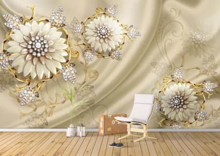 Fototapet 3D, Flori bej cu frunze de pietre prețioase pe un fundal de catifea bej