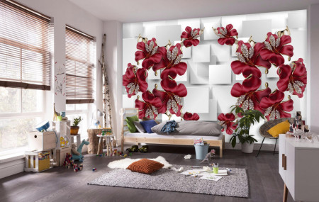 Fototapet 3D, Flori de Bourgogne pe un fundal alb 3D