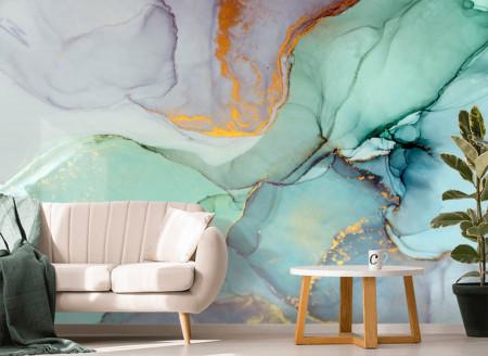 Fototapet, Abstracție din marmură de culoare turcuaz