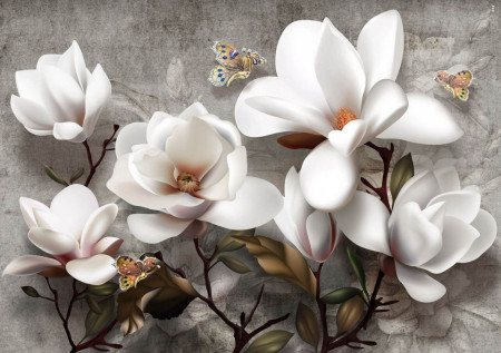 Fototapet Botanica, Flori delicate pe fundal gri