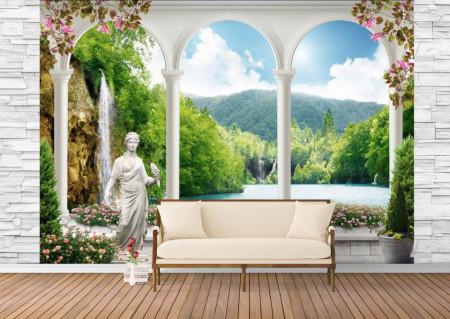 Fototapet Fresco, Fototapete cu o priveliște frumoasă a cascadei