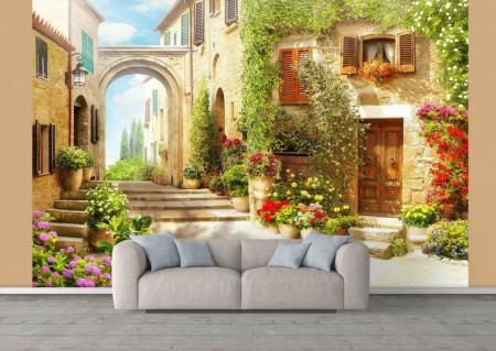 Fototapet Fresco, Fototapete cu o vedere spre curtea verde din Toscana, Italia