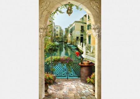 Fototapet Fresco, Fototapete cu un balcon arcuit și o vedere la Veneția