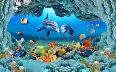Fototapet Mare, Delfinii printre pești și corali