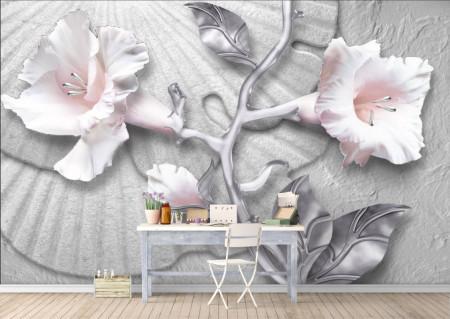 Fototapete 3D, Flori albe cu frunze de argint pe un fundal argintiu
