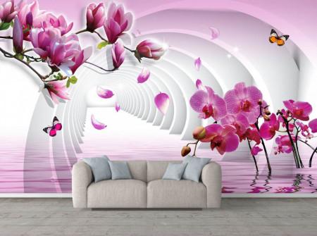 Fototapete 3D, Magnolia roz înflorește pe un fundal de tunel 3D