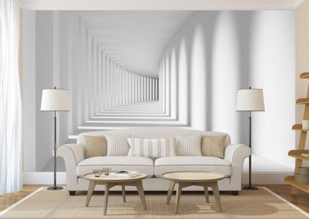 Fototapete 3D, Tunel cu pereți albi fără sfîrșit