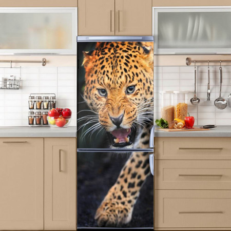 Stickere 3D pentru uși, Leopardul înfuriat, 1 foaie de 80 x 200 cm