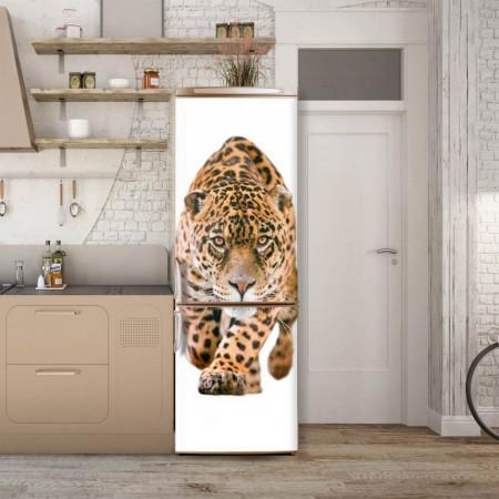 Stickerele decorative, pentru uși, Leopardul pe un fundal alb , 1 foaie de 80 x 200 cm