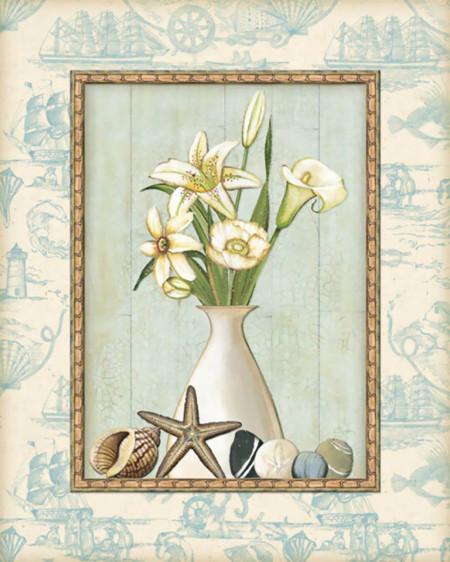 Tablouri Canvas, Vaza albă cu un buchet frumos de flori