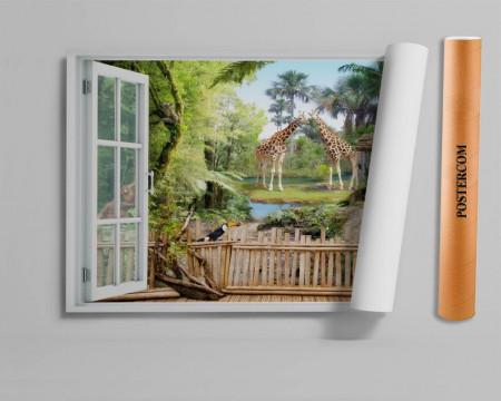 Fereastră falșă, Fereastră 3D cu vederea spre o rezervație naturală