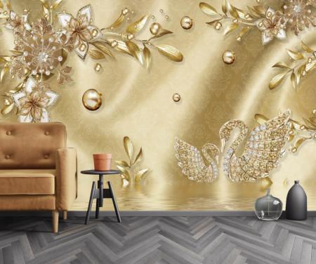 Fototapet Fantezie, Broșă de aur sub formă de flori și lebede pe un fond auriu