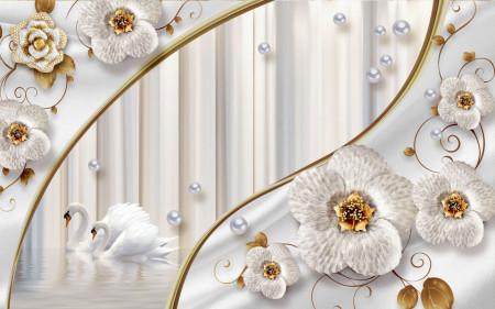 Fototapet Fantezie, Flori albe pe un fond cu dungi ușoare