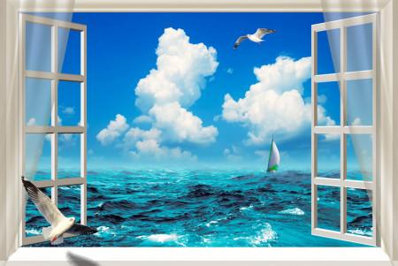 Fototapet, Fereastră albă cu Priveliște la ocean