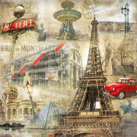 Fototapet Fresco, Automobil roșu lângă Turnul Eiffel