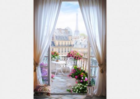 Fototapet Fresco, Vederea de la balcon la dimineața Parisului