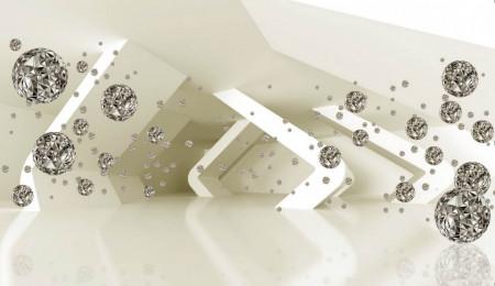 Fototapete 3D, Cristale pe un fundal bej.