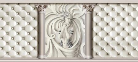 Fototapete 3D, Fata de gips cu coloane pe un fundal alb din piele
