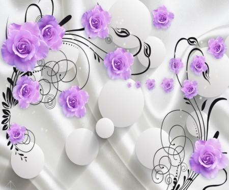 Fototapete 3D, Flori violet pe un fundal alb.