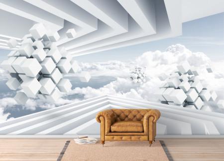 Fototapete 3D, Spațiu magic cu vedere asupra norilor