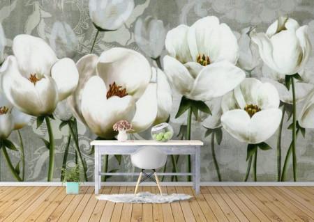 Fototapete, Câmp cu flori albe