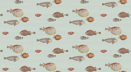 Fototapete, Pește pe un fundal albastru