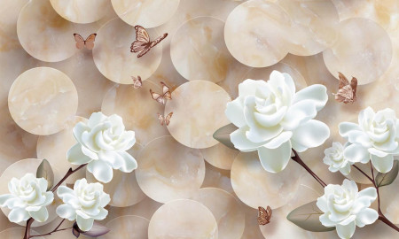 Multicanvas, Flori albe pe fond bej.
