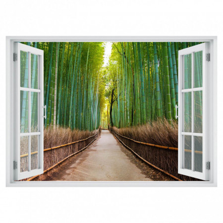 Stickere pentru pereți, Fereastra cu vedere spre o pădure de bambus