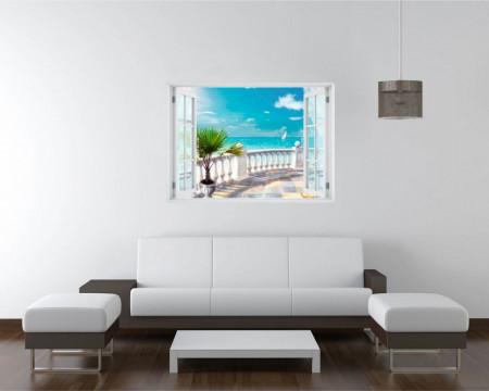 Stickere pentru pereți, Fereastra cu vedere spre un balcon cu o priveliște spre mare