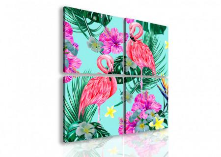 Tablou modular, Flamingo roz.