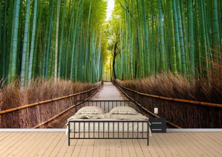 Fototapet, Cărare într-o pădure de bambus