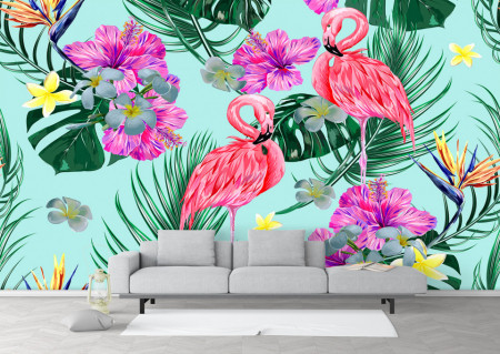 Fototapet, Flamingo roz pe un fundal albastru