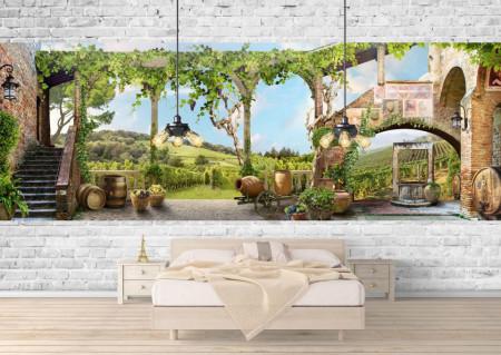 Fototapet Fresco, Fototapete cu vederea spre curte cu verdeață