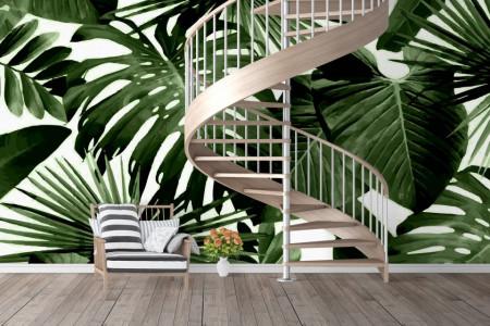 Fototapet, Frunze de copaci tropicali pe un fundal alb