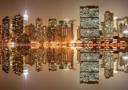 Fototapet Orase, Reflecția orașului nocturn