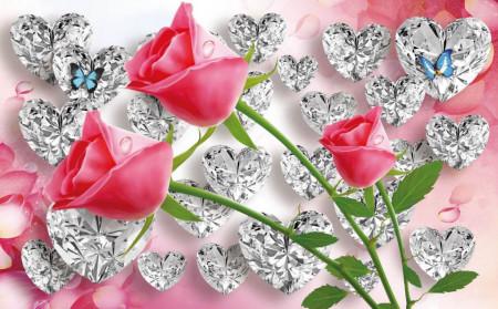 Fototapet, Trandafiri roșii pe fundal abstract