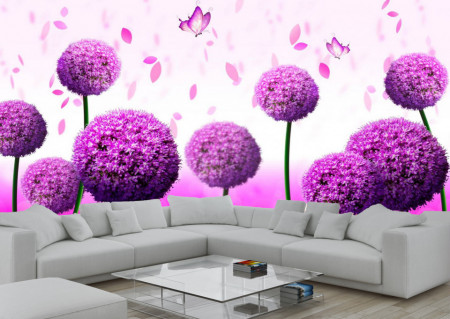 Fototapete 3D, Flori violete și fluturi pe fundalul unei câmpii cu flori