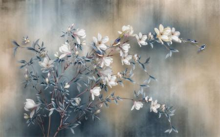 Fototapete, Flori albe pe o ramură și un fundal albastru