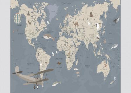 Fototapete, O hartă albastră pentru copii.