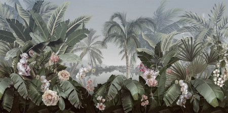 Fototapete, Parc frumos cu flori și copaci