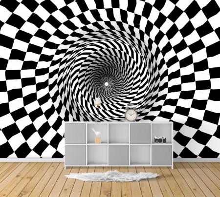 Fototapete, Tunel geometric alb-negru