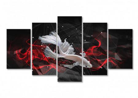 Multicanvas, Pește alb pe un fundal negru.