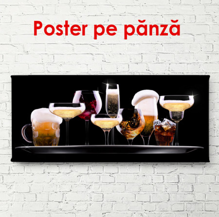 Poster, Set de diverse băuturi pe fond negru