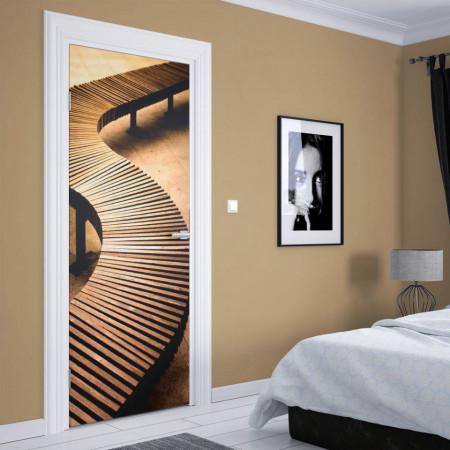 Stickere 3D pentru uși, Podul din lemn, 1 foaie de 80 x 200 cm