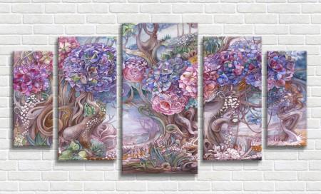 Tablou modular, Model floral în culori vibrante