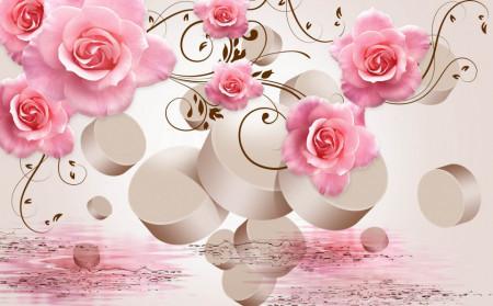 Fototapet 3D, Trandafiri roz pe fon 3D